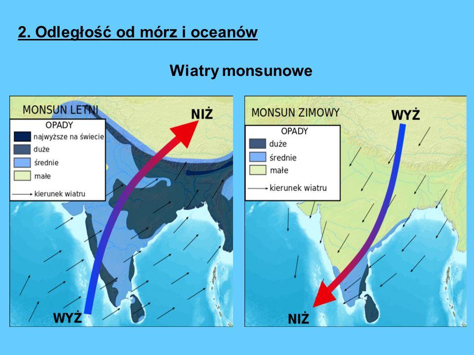 2. Odległość od mórz i oceanów Wiatry monsunowe