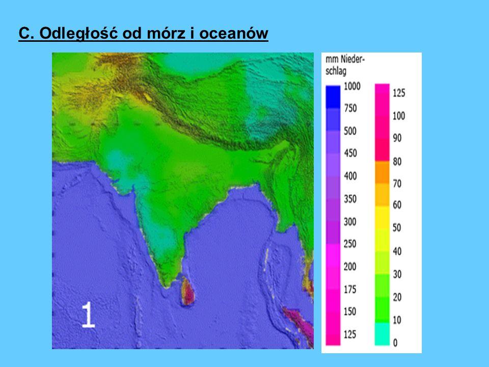 C. Odległość od mórz i oceanów