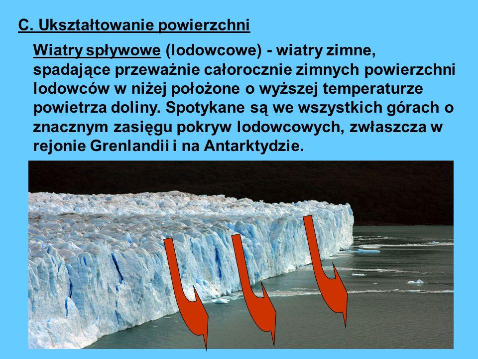 Wiatry spływowe (lodowcowe) - wiatry zimne, spadające przeważnie całorocznie zimnych powierzchni lodowców w niżej położone o wyższej temperaturze powi