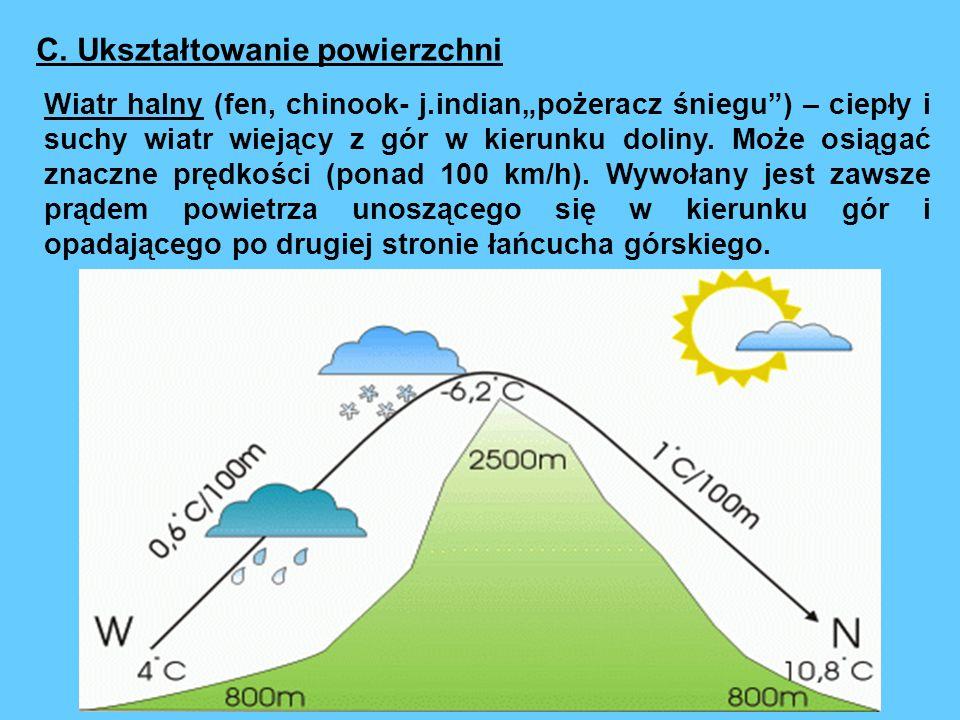 Wiatr halny (fen, chinook- j.indianpożeracz śniegu) – ciepły i suchy wiatr wiejący z gór w kierunku doliny.