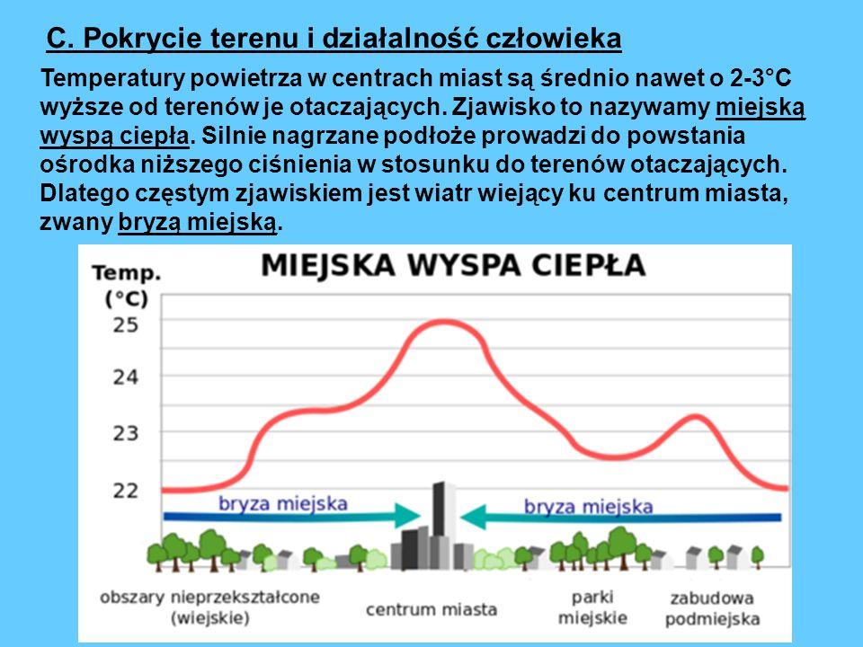 Temperatury powietrza w centrach miast są średnio nawet o 2-3°C wyższe od terenów je otaczających. Zjawisko to nazywamy miejską wyspą ciepła. Silnie n