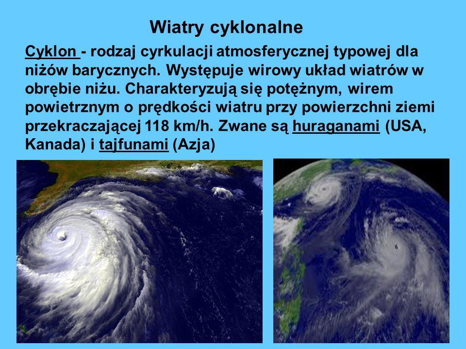 Cyklon - rodzaj cyrkulacji atmosferycznej typowej dla niżów barycznych. Występuje wirowy układ wiatrów w obrębie niżu. Charakteryzują się potężnym, wi