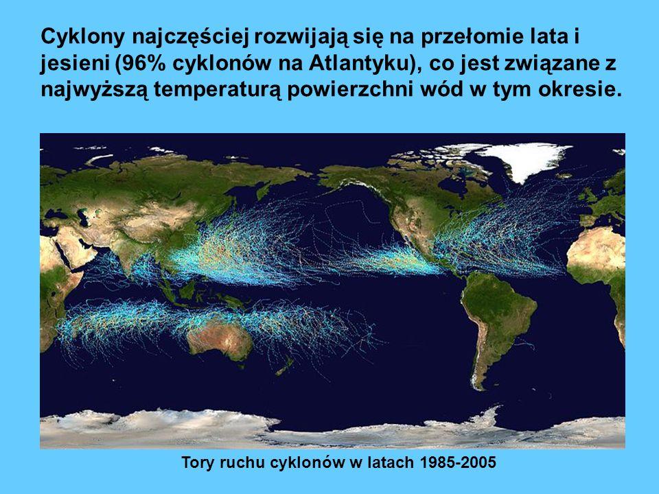 Tory ruchu cyklonów w latach 1985-2005 Cyklony najczęściej rozwijają się na przełomie lata i jesieni (96% cyklonów na Atlantyku), co jest związane z najwyższą temperaturą powierzchni wód w tym okresie.
