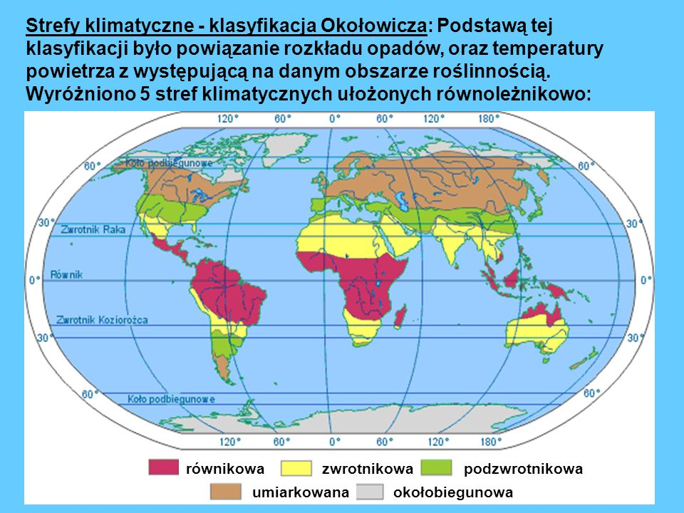 Strefy klimatyczne - klasyfikacja Okołowicza: Podstawą tej klasyfikacji było powiązanie rozkładu opadów, oraz temperatury powietrza z występującą na danym obszarze roślinnością.
