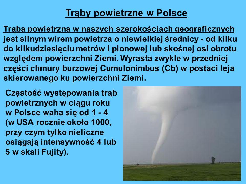 Trąby powietrzne w Polsce Trąba powietrzna w naszych szerokościach geograficznych jest silnym wirem powietrza o niewielkiej średnicy - od kilku do kilkudziesięciu metrów i pionowej lub skośnej osi obrotu względem powierzchni Ziemi.