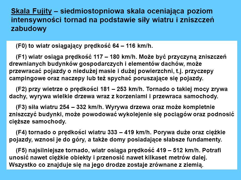 (F0) to wiatr osiągający prędkość 64 – 116 km/h. (F1) wiatr osiąga prędkość 117 – 180 km/h. Może być przyczyną zniszczeń drewnianych budynków gospodar