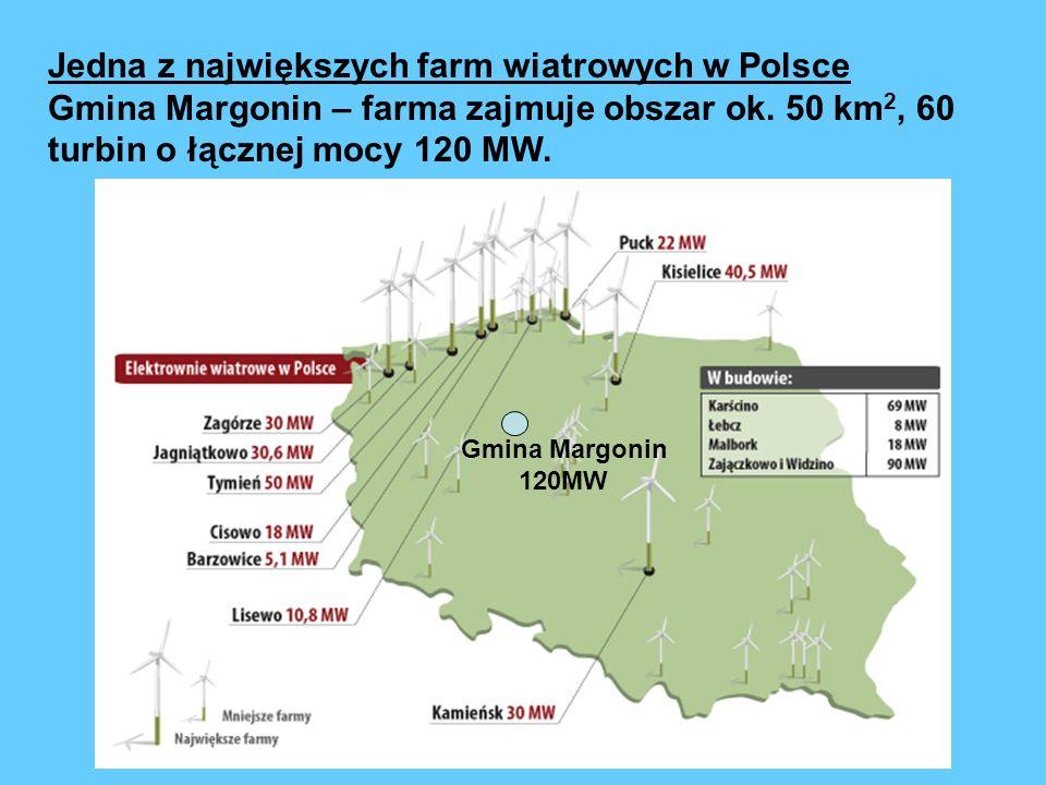 Jedna z największych farm wiatrowych w Polsce Gmina Margonin – farma zajmuje obszar ok. 50 km 2, 60 turbin o łącznej mocy 120 MW. Gmina Margonin 120MW