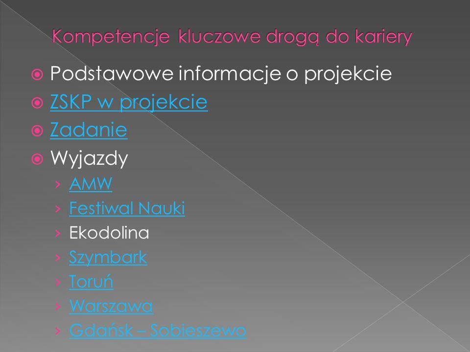 Podstawowe informacje o projekcie ZSKP w projekcie Zadanie Wyjazdy AMW Festiwal Nauki Ekodolina Szymbark Toruń Warszawa Gdańsk – Sobieszewo