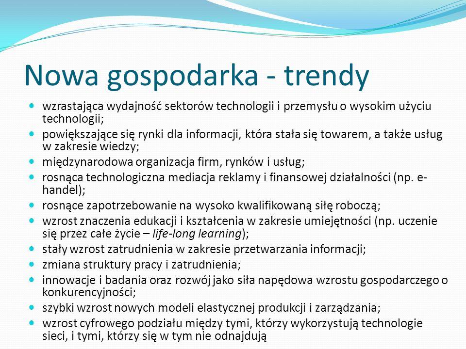 Nowa gospodarka - trendy wzrastająca wydajność sektorów technologii i przemysłu o wysokim użyciu technologii; powiększające się rynki dla informacji,