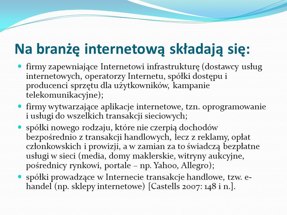 Na branżę internetową składają się: firmy zapewniające Internetowi infrastrukturę (dostawcy usług internetowych, operatorzy Internetu, spółki dostępu
