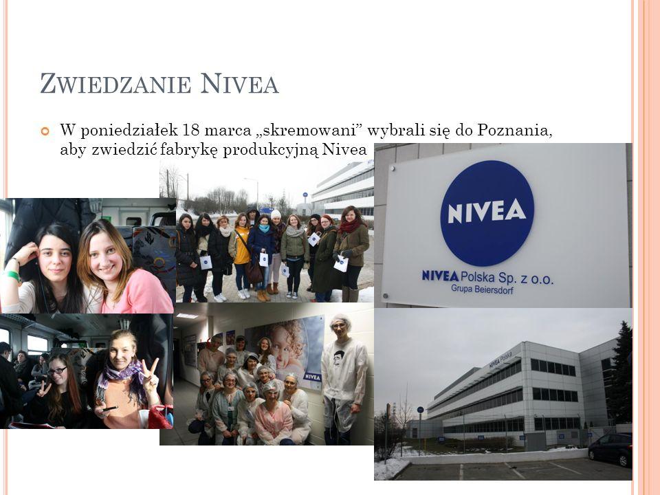 Z WIEDZANIE N IVEA W poniedziałek 18 marca skremowani wybrali się do Poznania, aby zwiedzić fabrykę produkcyjną Nivea