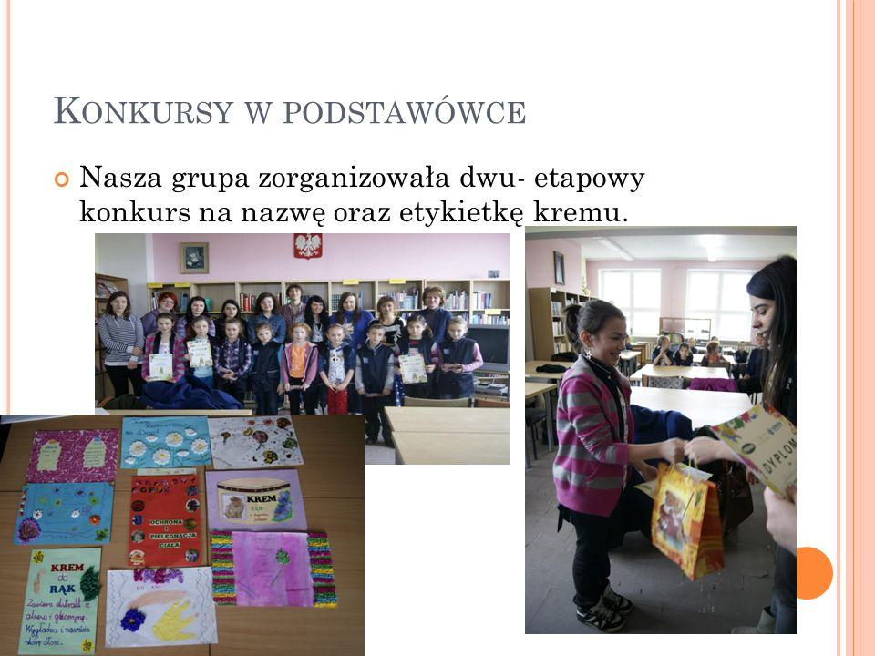 K ONKURSY W PODSTAWÓWCE Nasza grupa zorganizowała dwu- etapowy konkurs na nazwę oraz etykietkę kremu.
