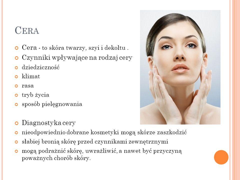 C ERA Cera - to skóra twarzy, szyi i dekoltu. Czynniki wpływające na rodzaj cery dziedziczność klimat rasa tryb życia sposób pielęgnowania Diagnostyka