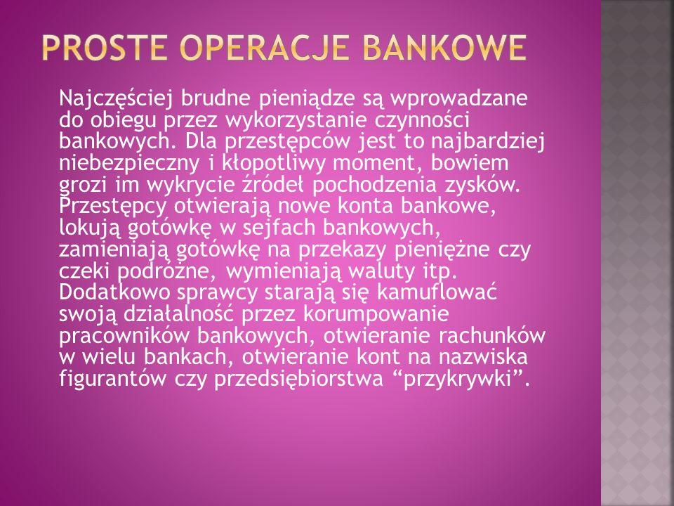 Najczęściej brudne pieniądze są wprowadzane do obiegu przez wykorzystanie czynności bankowych. Dla przestępców jest to najbardziej niebezpieczny i kło