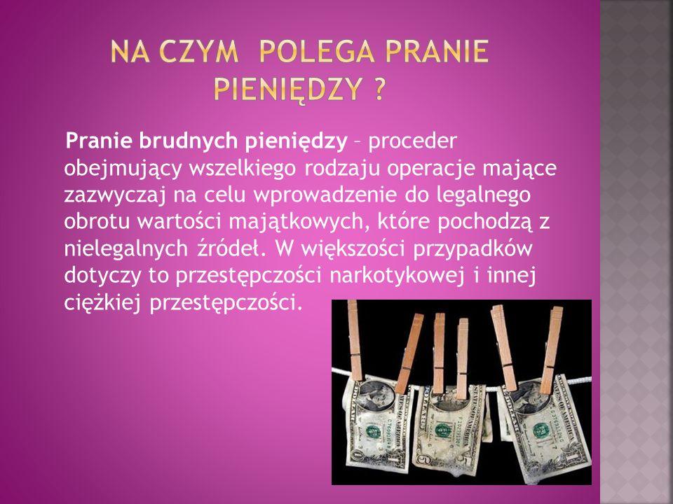 Pranie brudnych pieniędzy – proceder obejmujący wszelkiego rodzaju operacje mające zazwyczaj na celu wprowadzenie do legalnego obrotu wartości majątko