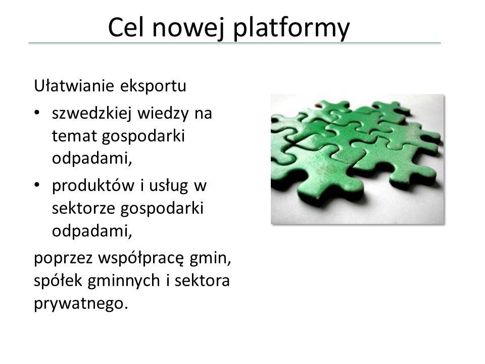Cel nowej platformy Ułatwianie eksportu szwedzkiej wiedzy na temat gospodarki odpadami, produktów i usług w sektorze gospodarki odpadami, poprzez wspó