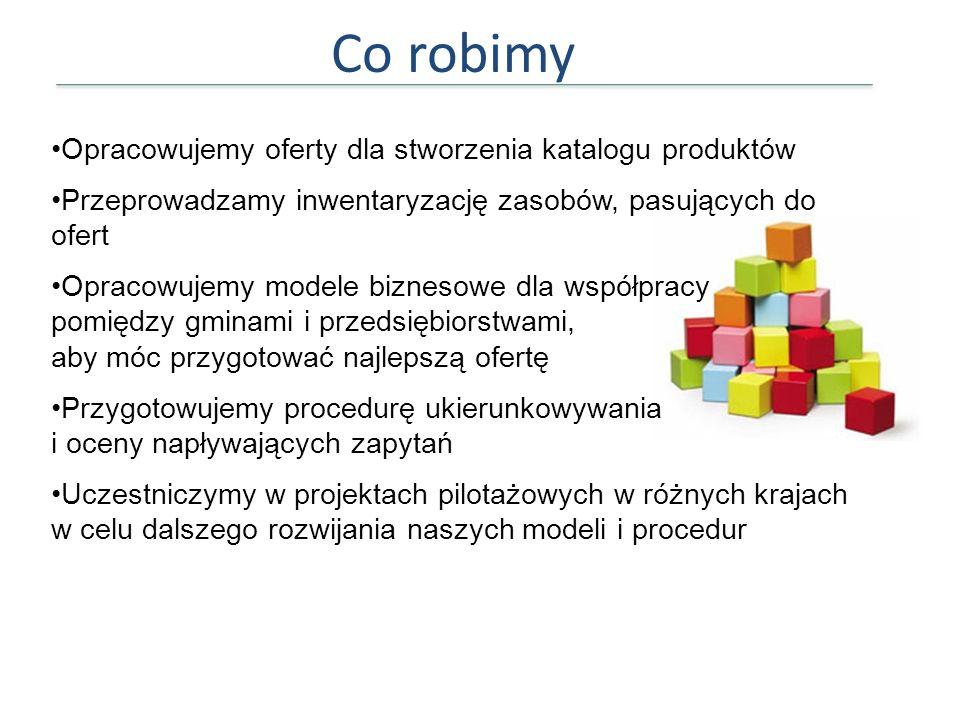 Co robimy Opracowujemy oferty dla stworzenia katalogu produktów Przeprowadzamy inwentaryzację zasobów, pasujących do ofert Opracowujemy modele bizneso