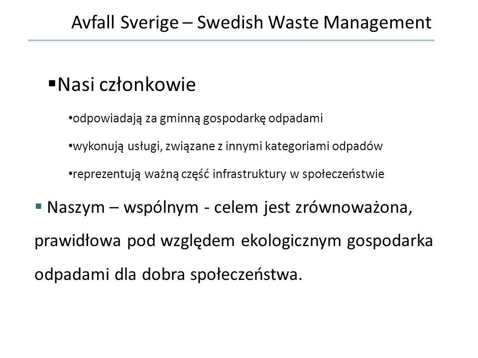 Avfall Sverige – Swedish Waste Management Nasi członkowie odpowiadają za gminną gospodarkę odpadami wykonują usługi, związane z innymi kategoriami odp
