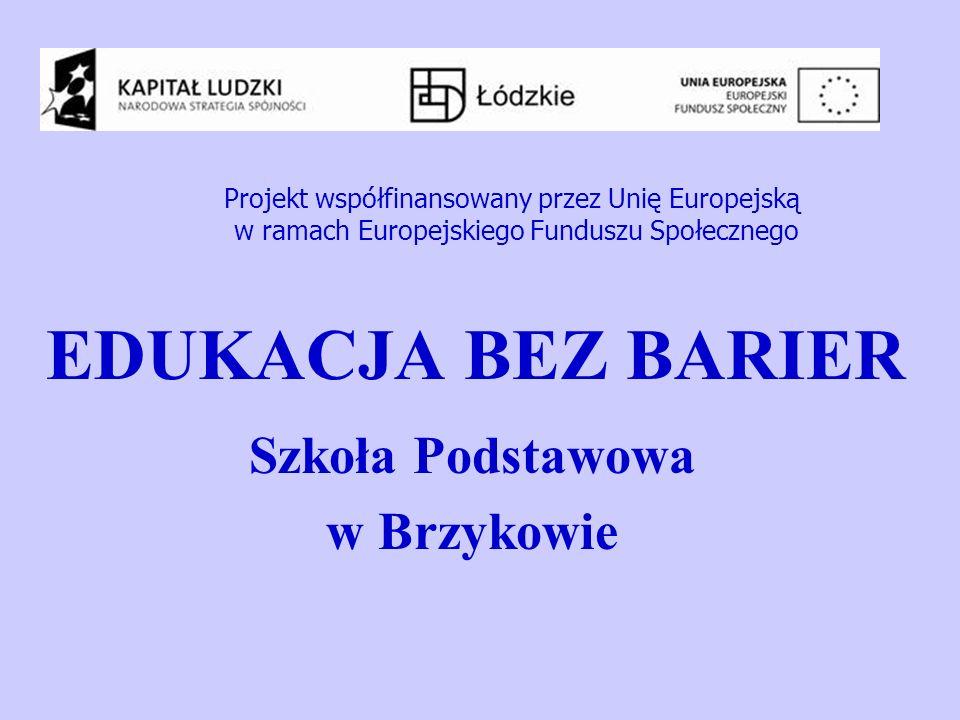 EDUKACJA BEZ BARIER Szkoła Podstawowa w Brzykowie Projekt współfinansowany przez Unię Europejską w ramach Europejskiego Funduszu Społecznego