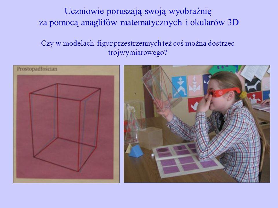 Uczniowie poruszają swoją wyobraźnię za pomocą anaglifów matematycznych i okularów 3D Czy w modelach figur przestrzennych też coś można dostrzec trójw