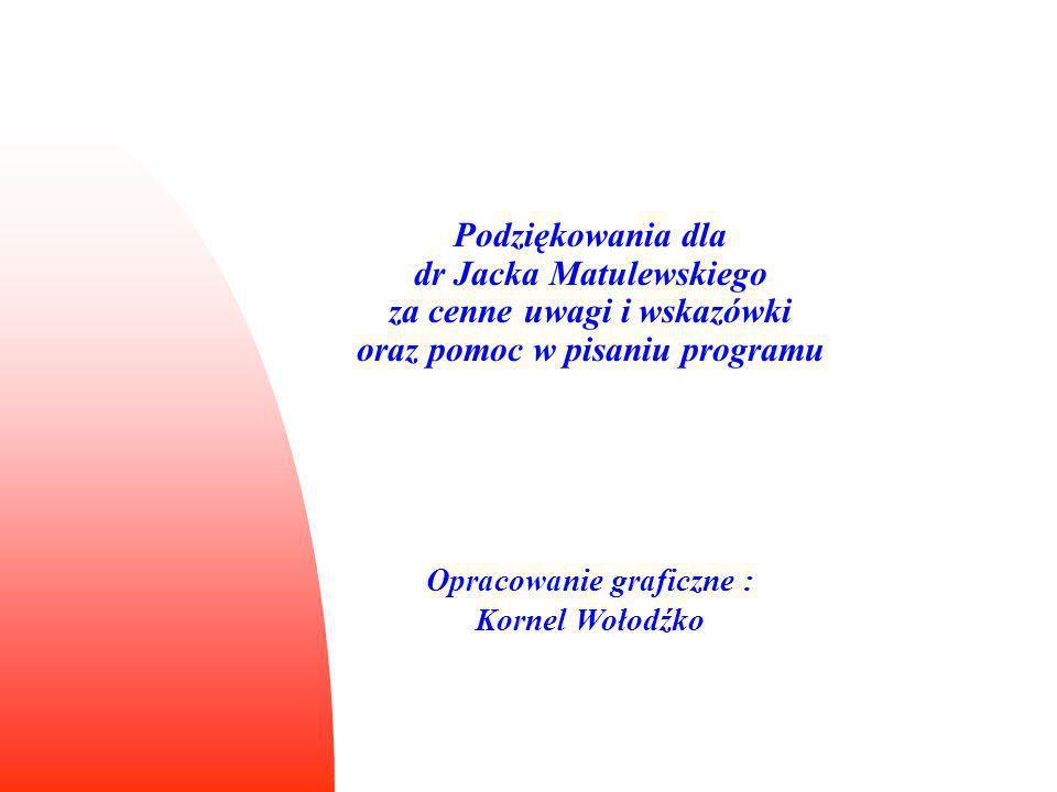 Podziękowania dla dr Jacka Matulewskiego za cenne uwagi i wskazówki oraz pomoc w pisaniu programu Opracowanie graficzne : Kornel Wołodźko