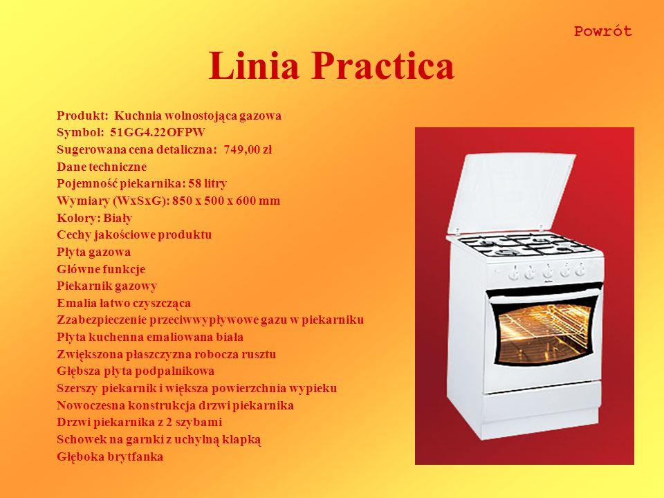 Linia Practica Produkt: Kuchnia wolnostojąca gazowa Symbol: 51GG4.22OFPW Sugerowana cena detaliczna: 749,00 zł Dane techniczne Pojemność piekarnika: 5