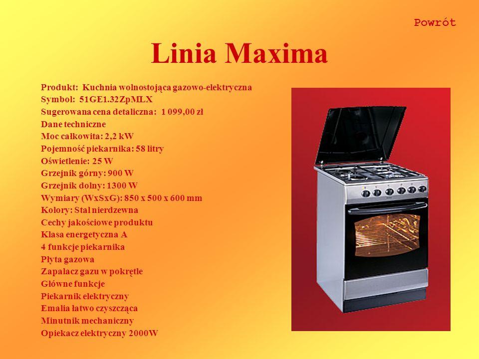 Linia Maxima Produkt: Kuchnia wolnostojąca gazowo-elektryczna Symbol: 51GE1.32ZpMLX Sugerowana cena detaliczna: 1 099,00 zł Dane techniczne Moc całkowita: 2,2 kW Pojemność piekarnika: 58 litry Oświetlenie: 25 W Grzejnik górny: 900 W Grzejnik dolny: 1300 W Wymiary (WxSxG): 850 x 500 x 600 mm Kolory: Stal nierdzewna Cechy jakościowe produktu Klasa energetyczna A 4 funkcje piekarnika Płyta gazowa Zapalacz gazu w pokrętle Główne funkcje Piekarnik elektryczny Emalia łatwo czyszcząca Minutnik mechaniczny Opiekacz elektryczny 2000W Powrót
