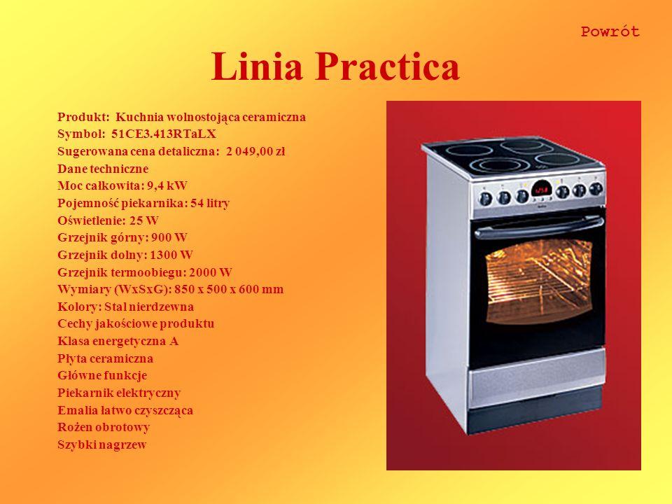 Linia Practica Produkt: Kuchnia wolnostojąca ceramiczna Symbol: 51CE3.413RTaLX Sugerowana cena detaliczna: 2 049,00 zł Dane techniczne Moc całkowita: