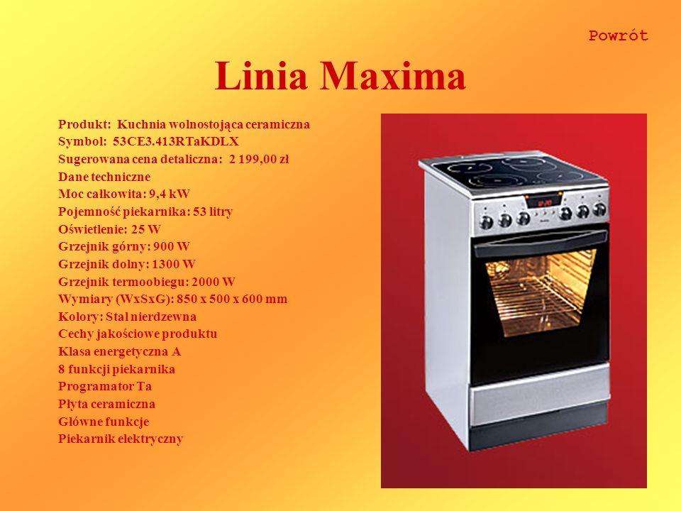 Linia Maxima Produkt: Kuchnia wolnostojąca ceramiczna Symbol: 53CE3.413RTaKDLX Sugerowana cena detaliczna: 2 199,00 zł Dane techniczne Moc całkowita: