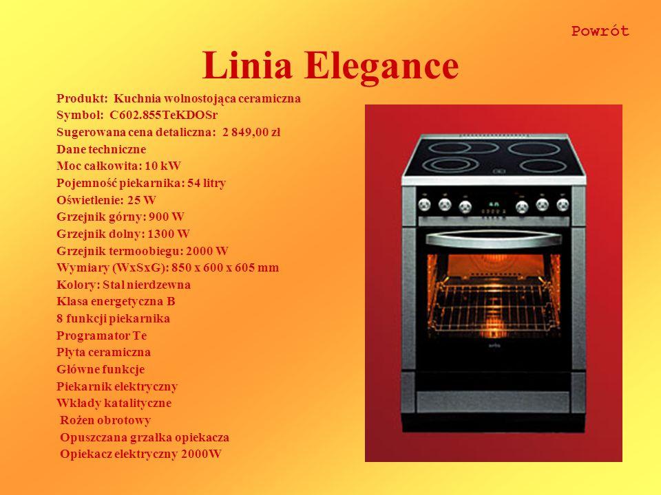 Linia Elegance Produkt: Kuchnia wolnostojąca ceramiczna Symbol: C602.855TeKDOSr Sugerowana cena detaliczna: 2 849,00 zł Dane techniczne Moc całkowita: