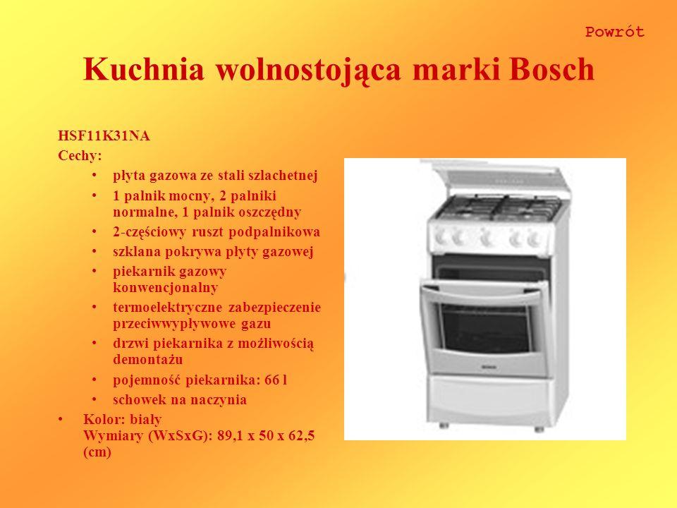 Kuchnia wolnostojąca marki Bosch HSF11K31NA Cechy: płyta gazowa ze stali szlachetnej 1 palnik mocny, 2 palniki normalne, 1 palnik oszczędny 2-częściowy ruszt podpalnikowa szklana pokrywa płyty gazowej piekarnik gazowy konwencjonalny termoelektryczne zabezpieczenie przeciwwypływowe gazu drzwi piekarnika z możliwością demontażu pojemność piekarnika: 66 l schowek na naczynia Kolor: biały Wymiary (WxSxG): 89,1 x 50 x 62,5 (cm) Powrót