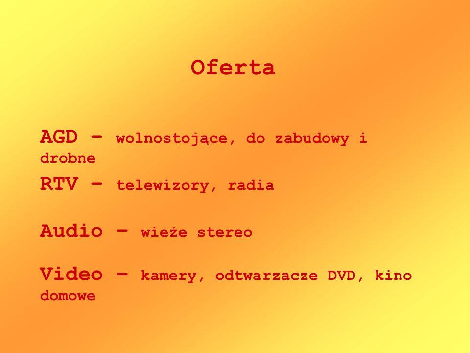 Oferta AGD – wolnostojące, do zabudowy i drobne RTV – telewizory, radia Video – kamery, odtwarzacze DVD, kino domowe Audio – wieże stereo