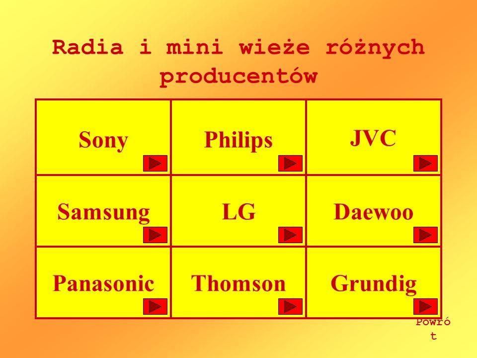SonyPhilips JVC SamsungLGDaewoo PanasonicThomsonGrundig Radia i mini wieże różnych producentów Powró t