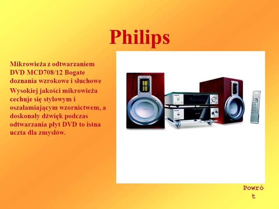 Philips Mikrowieża z odtwarzaniem DVD MCD708/12 Bogate doznania wzrokowe i słuchowe Wysokiej jakości mikrowieża cechuje się stylowym i oszałamiającym wzornictwem, a doskonały dźwięk podczas odtwarzania płyt DVD to istna uczta dla zmysłów.