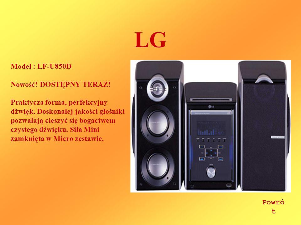LG Model : LF-U850D Nowość! DOSTĘPNY TERAZ! Praktycza forma, perfekcyjny dźwięk. Doskonałej jakości głośniki pozwalają cieszyć się bogactwem czystego