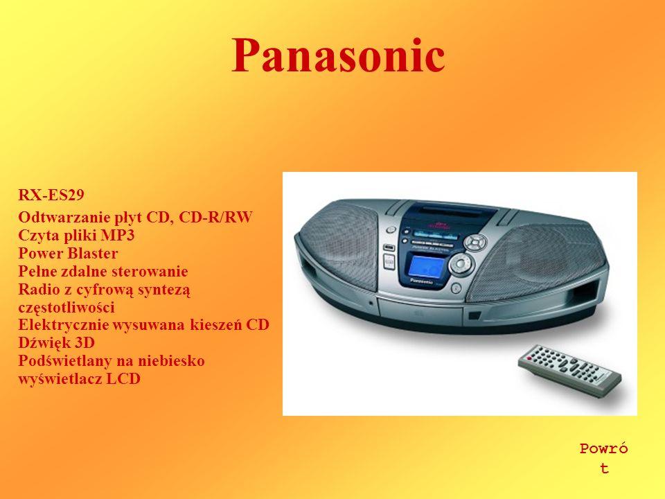 Panasonic RX-ES29 Odtwarzanie płyt CD, CD-R/RW Czyta pliki MP3 Power Blaster Pełne zdalne sterowanie Radio z cyfrową syntezą częstotliwości Elektrycznie wysuwana kieszeń CD Dźwięk 3D Podświetlany na niebiesko wyświetlacz LCD Powró t