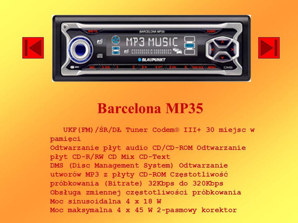 Barcelona MP35 UKF(FM)/ŚR/DŁ Tuner Codem® III+ 30 miejsc w pamięci Odtwarzanie płyt audio CD/CD-ROM Odtwarzanie płyt CD-R/RW CD Mix CD-Text DMS (Disc Management System) Odtwarzanie utworów MP3 z płyty CD-ROM Częstotliwość próbkowania (Bitrate) 32Kbps do 320Kbps Obsługa zmiennej częstotliwości próbkowania Moc sinusoidalna 4 x 18 W Moc maksymalna 4 x 45 W 2-pasmowy korektor