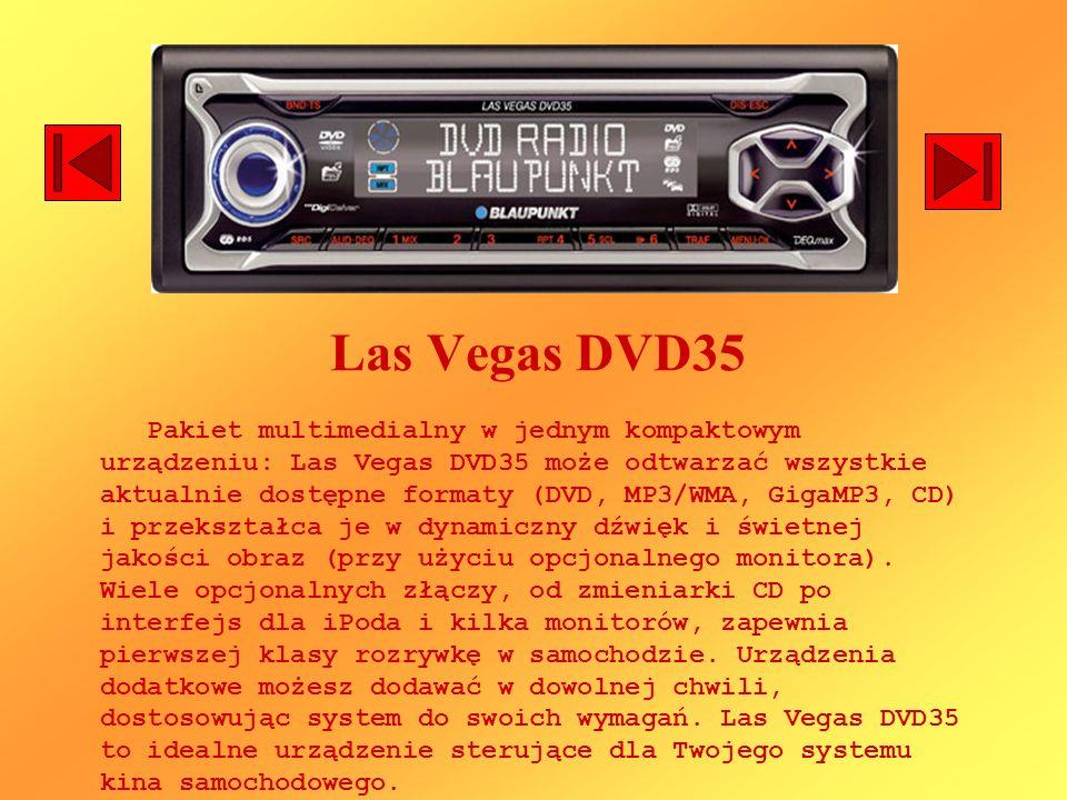 Las Vegas DVD35 Pakiet multimedialny w jednym kompaktowym urządzeniu: Las Vegas DVD35 może odtwarzać wszystkie aktualnie dostępne formaty (DVD, MP3/WMA, GigaMP3, CD) i przekształca je w dynamiczny dźwięk i świetnej jakości obraz (przy użyciu opcjonalnego monitora).