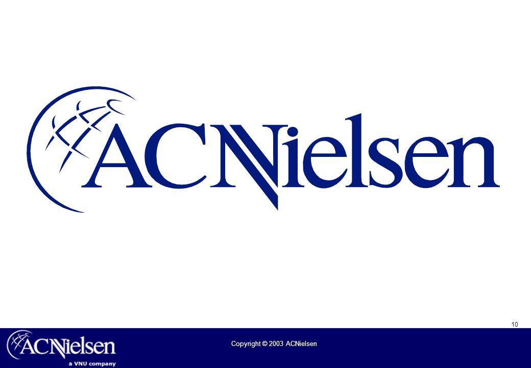10 Copyright © 2003 ACNielsen