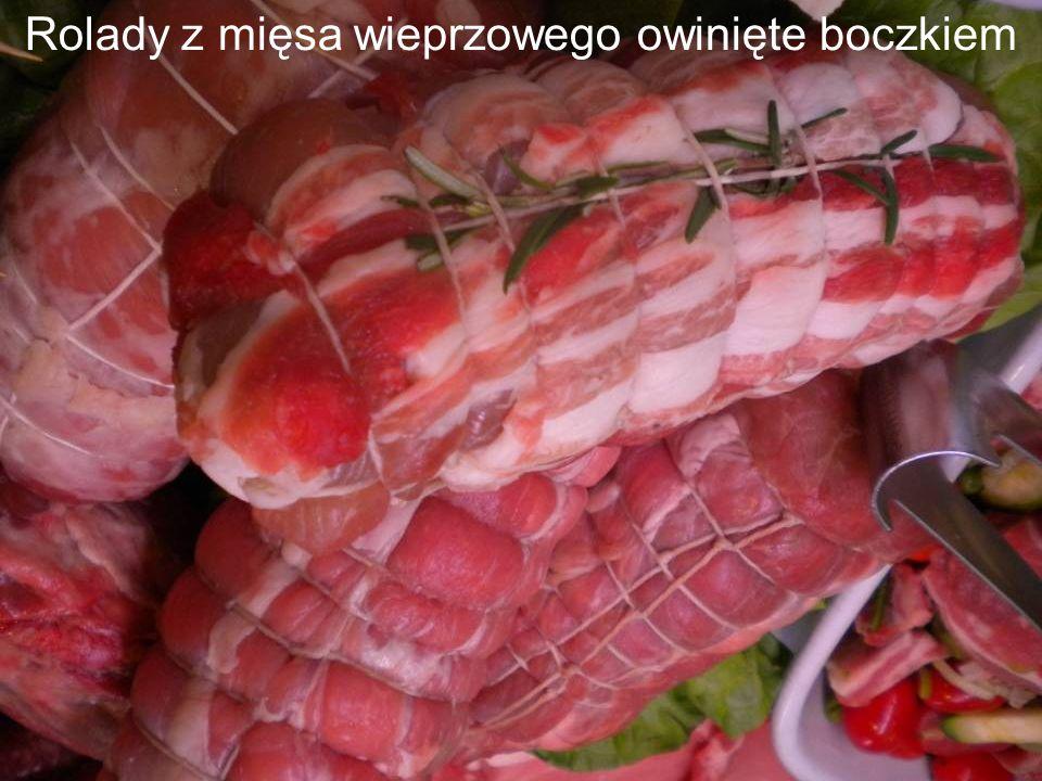 Rolady z mięsa wieprzowego owinięte boczkiem