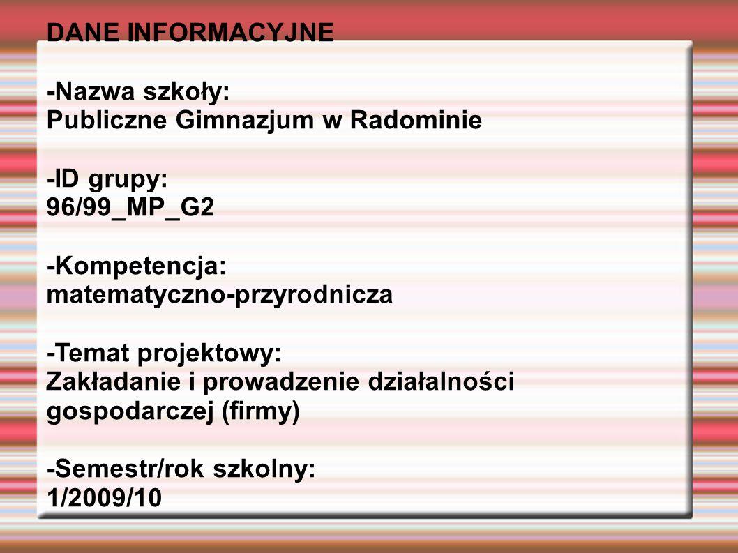 DANE INFORMACYJNE -Nazwa szkoły: Publiczne Gimnazjum w Radominie -ID grupy: 96/99_MP_G2 -Kompetencja: matematyczno-przyrodnicza -Temat projektowy: Zakładanie i prowadzenie działalności gospodarczej (firmy) -Semestr/rok szkolny: 1/2009/10