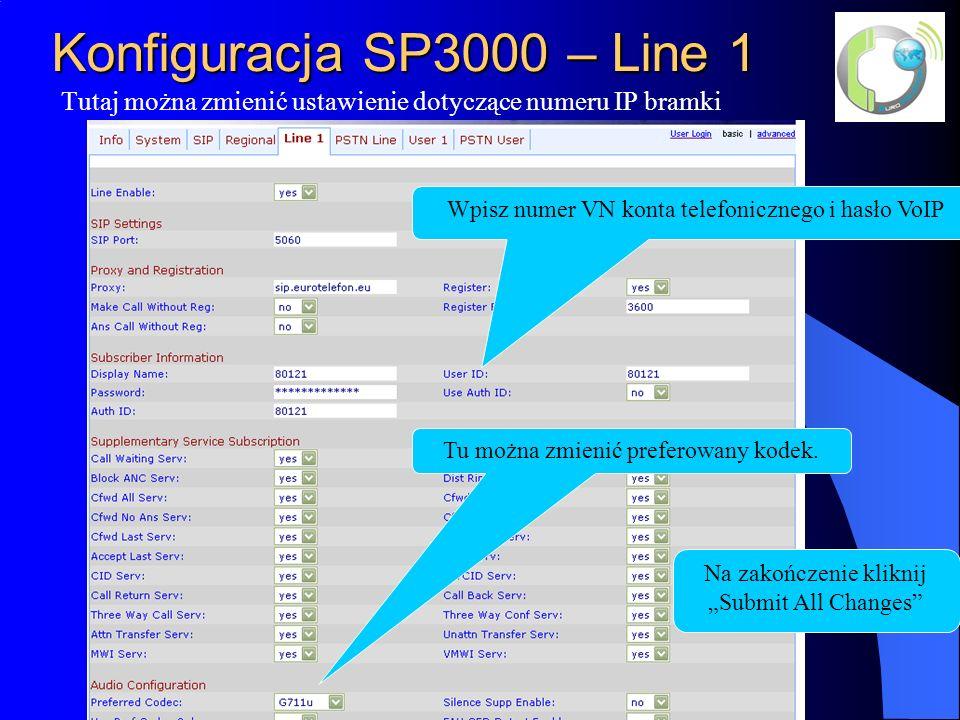 Konfiguracja SP3000 – Line 1 Tutaj można zmienić ustawienie dotyczące numeru IP bramki Wpisz numer VN konta telefonicznego i hasło VoIP Na zakończenie kliknij Submit All Changes Tu można zmienić preferowany kodek.