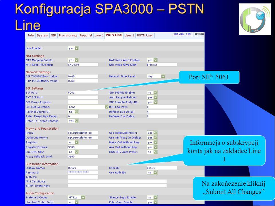 Konfiguracja SPA3000 – PSTN Line Informacja o subskrypcji konta jak na zakładce Line 1 Port SIP: 5061 Na zakończenie kliknij Submit All Changes