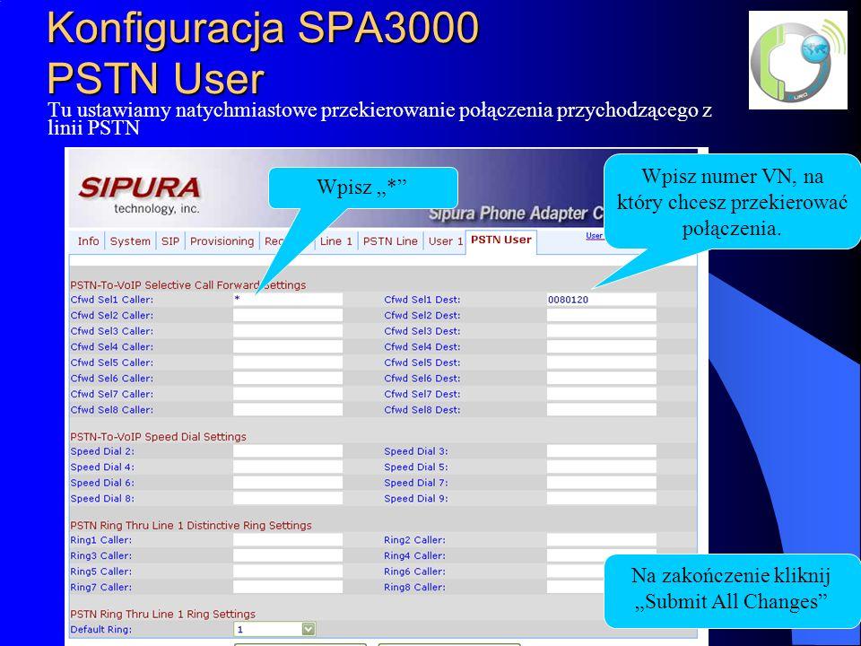 Konfiguracja SPA3000 PSTN User Wpisz numer VN, na który chcesz przekierować połączenia.