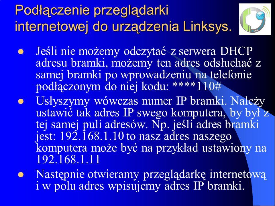 Podłączenie przeglądarki internetowej do urządzenia Linksys.