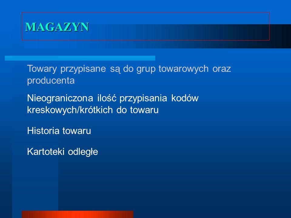 MAGAZYN – PRZYJĘCIE TOWARU Kontrola przyjęcia – część magazyniera oraz kierownika Rozbudowane możliwości regulowania cen Przeceny