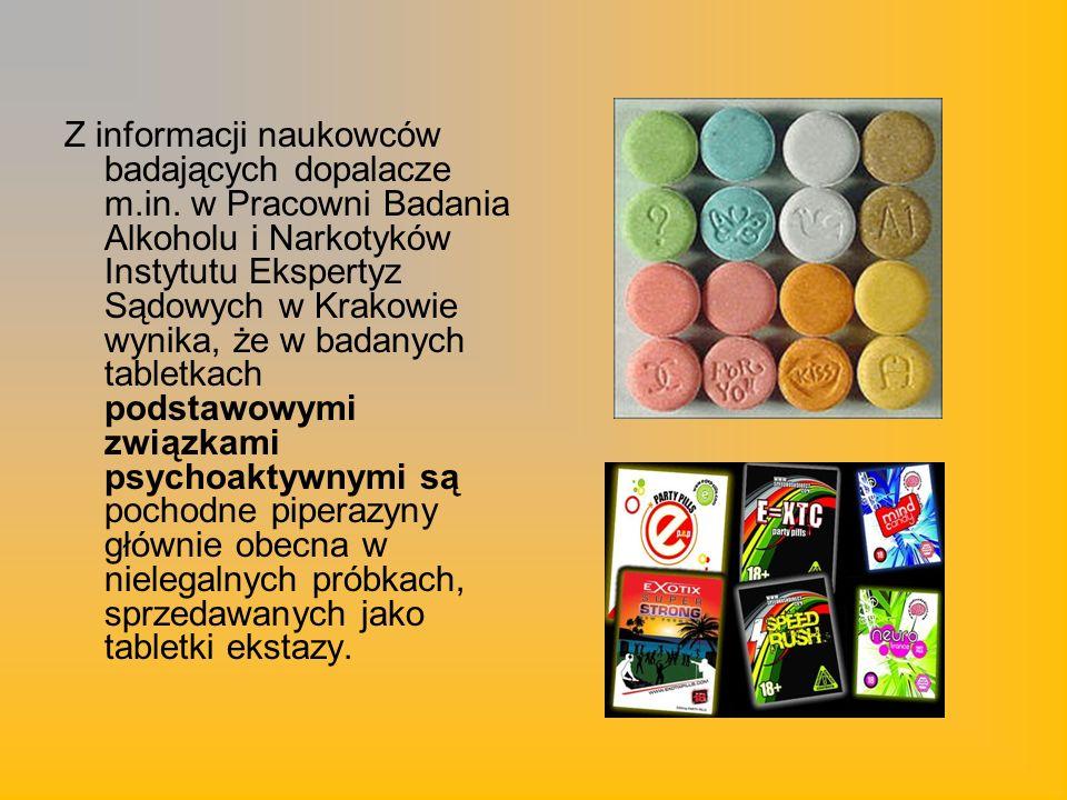 Z informacji naukowców badających dopalacze m.in. w Pracowni Badania Alkoholu i Narkotyków Instytutu Ekspertyz Sądowych w Krakowie wynika, że w badany