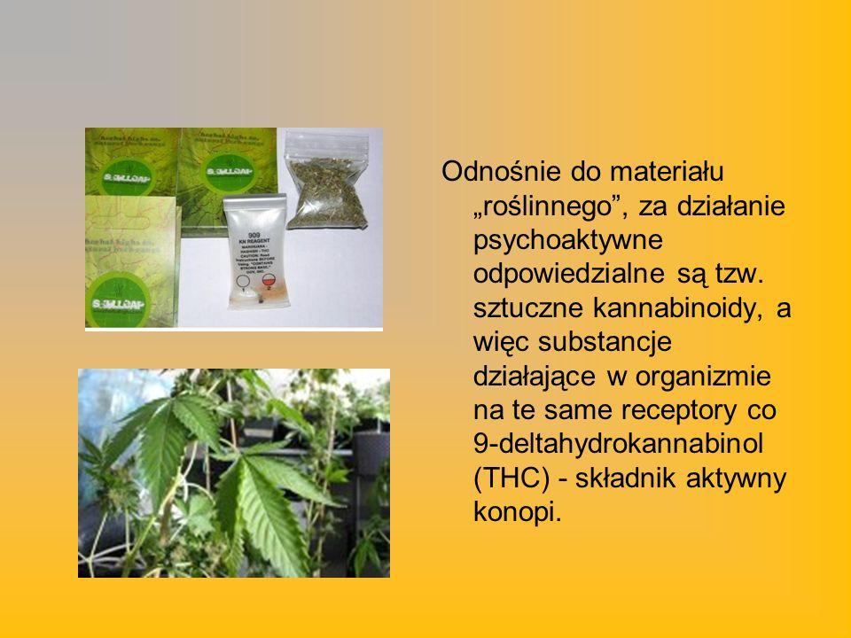 Odnośnie do materiału roślinnego, za działanie psychoaktywne odpowiedzialne są tzw. sztuczne kannabinoidy, a więc substancje działające w organizmie n