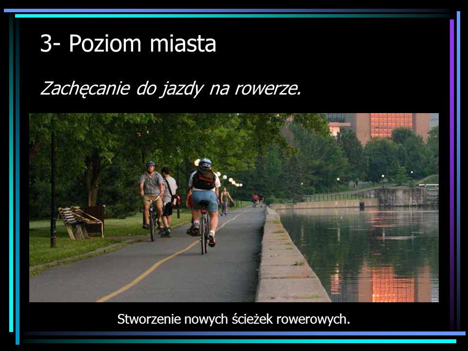 3- Poziom miasta Zachęcanie do jazdy na rowerze. Stworzenie nowych ścieżek rowerowych.