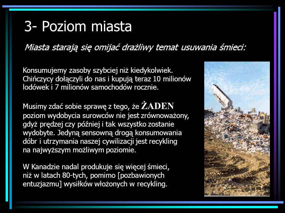 3- Poziom miasta Miasta starają się omijać drażliwy temat usuwania śmieci: Konsumujemy zasoby szybciej niż kiedykolwiek. Chińczycy dołączyli do nas i